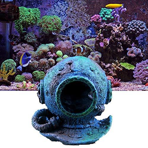 Inveroo Aquarium Dekoration Aquarium Haus Dekoration Taucherhelm Wrack Kleine Fische zu Fuß Ausweichen Fish House Aquarium Supplies