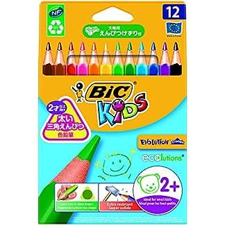 BIC KiDS Ecolutions Evolution Triangle lápices, dreikantiger vástago, 12colores surtidos, estuche de cartón 12unidades