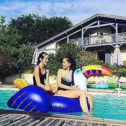 Flotador inflable gigante de la piscina del tucán - Hanmun Nueva serie Paseo del flotador del tucán de gran tamaño en la fiesta de la piscina de la diversión de la balsa del verano Más largo Niño familiar Mujeres adultas Hombres (azul)