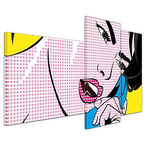 (Kunstdruck - Pop-Art Frau mit Telefon - Bild auf Leinwand - 130x80 cm 3 teilig - Leinwandbilder - Urban & Graphic - Andy Warhol - Retro - Comic)