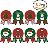 EQLEF Noel Autocollant Noel Sceaux d'autocollants de Noël pour Sac de Cuisson avec de Beaux XmasTree, Autocollants colorés pour étiquettes de scellés (160 pcs)