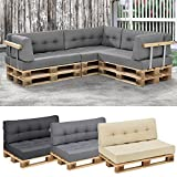 [en.casa]® euro-pallet sofa/ 1 x seat cushion. 1 x back rest cushion / pad / outdoor indoor / garden furniture / water-resistant / light grey