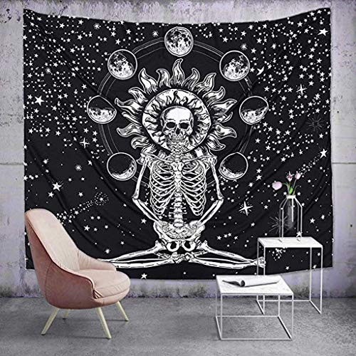 Higlles Schädel-Tapisserie Wandbehang Schwarz und weiß Menschlicher Skelettteppich mit Pentagramm Home Decor Wandteppiche Wandkunst für Zimmer(3 Größen)