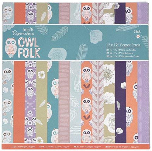 Unbekannt Papermania 12x 12Zoll Papier Pack, 32Stück, Eule - Gewicht Owl Papier
