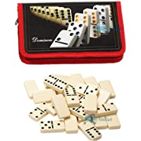 FunBlast Domino Set - 28 Pieces Double Six | Ivory Dominoes 28 Piece Set Toy in Zipper Bag Case – 6 Dot Dominoes Match…