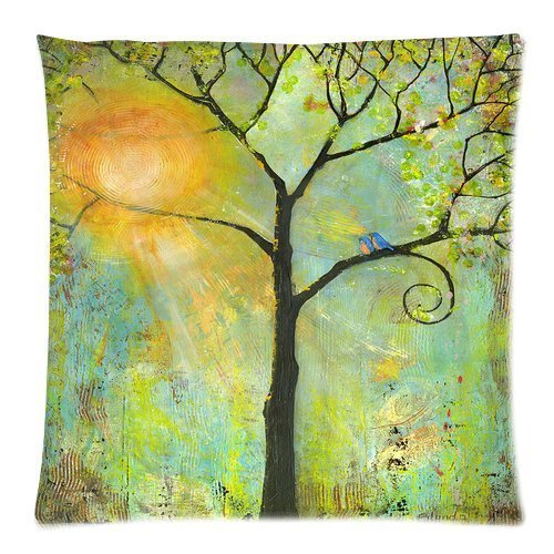 Huis-Free New Ultra Clear Color High-Definition Image Tree Of Life Hello Sunshine Tree Birds Sun Art Print Fashion Cotton Decorative Pillowslip Bed Pillow / Cover Pillow Sham Zippered Printed 18 x 18 Inches Pillowslip Bed Pillow (Stoff Sham)