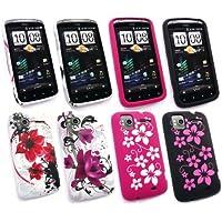 Emartbuy ® HTC Sensation / Sensation XE Bundle Pack 4 Gel Silikon Skin Cover / Case - Floral Schwarz, Rosa Blumen, Oriental Flowers & Lila Bloom