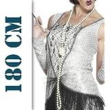 20er Jahre Perlenkette Charleston Kette weiß 180cm Damenkette Perlen Kette Kostüm Accessoires