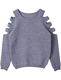 Minetom Femmes Casual Rétro épaule Off Manches Longues Col O Pull Sweater En Tricot Top Blouse