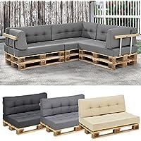 [en.casa] Set de 2 cojines para sofá de palés - cojín de asiento + cojín de respaldo [gris claro] sofá de europalés para interior/ exterior