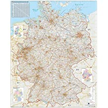 Verkehrswegekarte Deutschland: Wandkarte mit Metallbeleistung