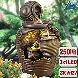 Amur GARTENBRUNNEN BRUNNEN 230V ZIERBRUNNEN VOGELBAD WASSERFALL GARTENLEUCHTE TEICHPUMPE - SPRINGBRUNNEN WASSERSPIEL für Garten, Gartenteich, Terrasse, Teich, Balkon (4-AMPHOREN mit LED-Licht)