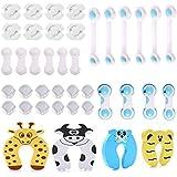 40 Pcs Kit Seguridad Bebe, (16 Bebé de Seguridad Bloqueo, 12 Protector de Seguridad para Niños, 8 Protector Enchufes, 4 Prote