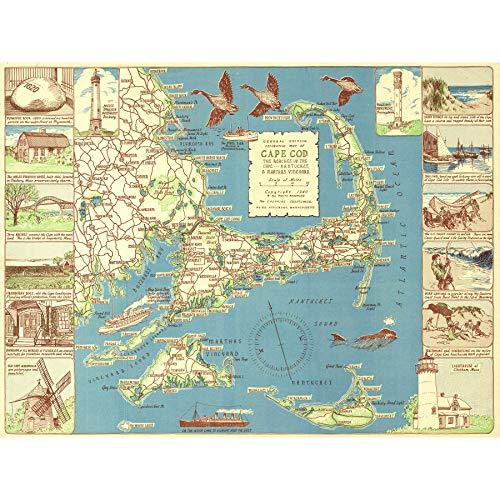 Colonial Craftsman 1940 Map Cape Cod MA USA Extra Large Art Print Wall Mural Poster Premium XL Karte Vereinigte Staaten von Amerika Große Kunst Wand (Staaten-map-kunst Vereinigte)