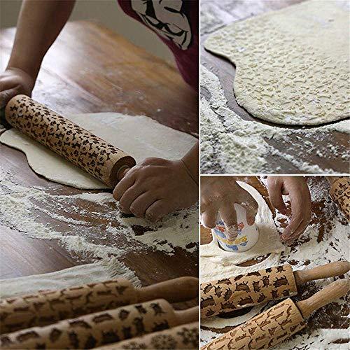 Altsommer Weihnachten Katzen Teigroller,Rolling Pin Engraved Carved Katze Muster Nudelholz Prägung für Hause Küche Werkzeug,Einfach zu Bedienen Biskuit Nudelholz,Grifflänge 9cm (A)