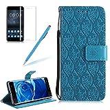 Girlyard Lederhülle für Nokia Lumia 550, Blätter Blumen Muster Design Schutzhülle Wallet Flip Case mit Lanyard Strap Handyhülle Standfunktion Karteneinschub und Magnetverschluß Etui für Microsoft Lumia 550 / Nokia N550 - Blau