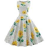SEWORLD Elegant Kleid Damen Heißer Einzigartiges Design Mode Frauen Elegant Abendkleid Vintage Bedrucktes Lässige Abend Party Prom Swing Kleid Ärmelloses Kleid(X2-2-weiß4,EU:36-38/CN:L)