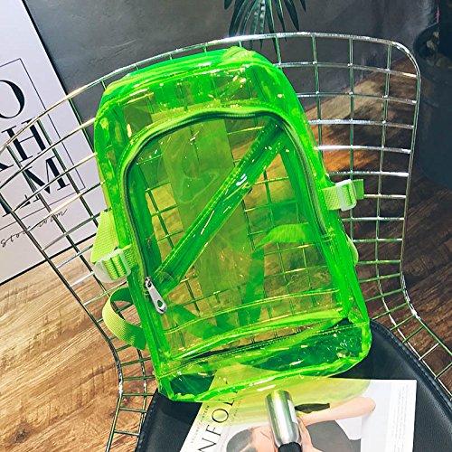 it Reißverschluss Fashion Transparent Klar Rucksack Kunststoff Tasche (grün) ()
