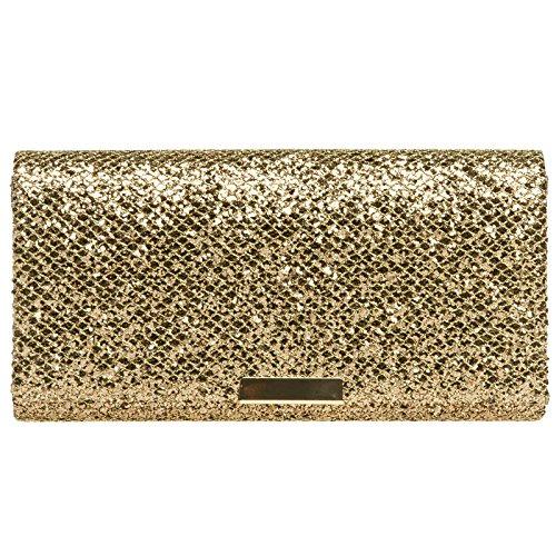 CASPAR TA342 Damen kleine elegante Glitzer Clutch Tasche Abendtasche, Farbe:bronze;Größe:One Size