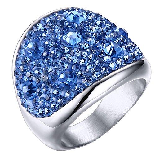 PAURO Damen Edelstahl Westlicher Stil Große Glänzende Strasssteine Um Ringe Hochzeitsband Blau Größe 52 (16.6)