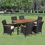 Festnight 7-teilige Garten-Essgruppe Polyrattan Akazientischplatte Gartenmöbel Sitzgruppe mit 1 Gartentisch + 6 Stühle