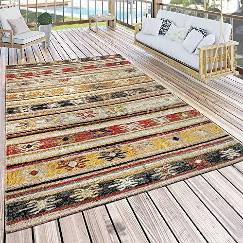 Paco Home In- & Outdoor Teppich Modern Jelle Print Terrassen Teppich Wetterfest Gelb, Grösse:80x150 cm