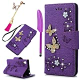 Sony Xperia XA1 Case,Badalink Bling Glitter Diamonds Butterfly Embossed Wallet PU Leather Folio Cover Rubber Back Holder Magnetic Closure Card Slots with Wrist Strap for Xperia XA1 - Purple