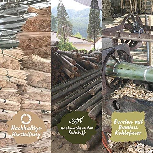 4er Pack ♻ Bambus Zahnbürste mit reinem Bambus-Holz ✮ vegan ✮ biologisch abbaubar ✮ 100% frei von BPA ✮ Borsten mit Bambus-Holzkohle für beste Sauberkeit - 5