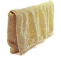 Onorevoli increspato oro tono cristallo austriaco/diamante frizione