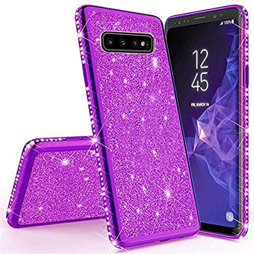 Miagon für Samsung Galaxy S10 Plus Glitzer Hülle,Bling Überzug Glänzend Strass Diamant Weich TPU Silikon Handy Hülle Etui Tasche Schutzhülle Case Cover