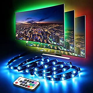 LED TV Backlight, infinitoo 2M/6.6ft 5050RGB USB Light Strip, Multi-color Waterproof Bias Lights with RF Remote Control for 40 To 60 Inch HDTV, PC Monitor and Home Theater