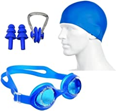 Body Maxx Swimming Kit Swimming Goggles Swimming Cap Ear Plug Nose Clip