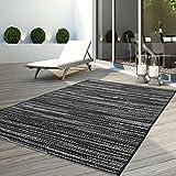 carpet city Teppich Flachflor Modern Outdoor Fest Geknüpft Outside Sunset Liniert-Grau 160 x 230 cm