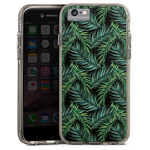 Apple iPhone 7 Plus Bumper Hülle Bumper Case Glitzer Hülle Palmen Dschungel Natur Bumper Case transparent grau