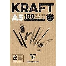 Clairefontaine bloc de papel Kraft), color marrón, tamaño A5, 90g, color blanco