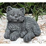 Statue en pierre chat assis, gris ardoise, pierre reconstituée