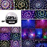 Topwill Discokugel LED, 6 Farbe RGB Partylicht USB Musikgesteuert DJ Party Licht Drehbares Partylicht 20W Disco Partyleuchte Lichteffekte Deko für Halloween-Partys, Geburtstage, Disco-Partys, Tanzpartys, Weihnachtsfeiern, Poolpartys, Hochzeit Make Disco, Ballsaal, KTV, Bar, Club