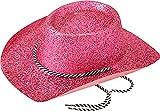 Unisex Erwachsene Fancy Dress Party mit Kopfbedeckungen Zubehör Western Cowboys Glitzer Hat Gr. Einheitsgröße, Rosa - Pink