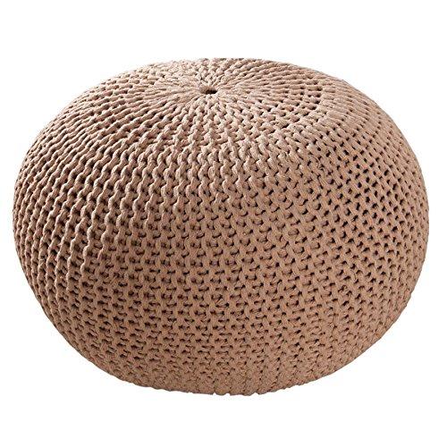 Invicta Interior Design Pouf LEEDS 50 cm braun Coffee Bezug aus Strick Garn Sitzgelegenheit Fußhocker Sitzpouf gepolstert Sitzkissen