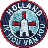2 x Holland Abzeichen gestickt 60 mm / Ik hou van jou, Niederlande Windmühle niederländisch / Aufnäher Aufbügler Flicken Sticker Patch / Urlaub Reise Buch Reiseführer Nordsee Wohnmobil Amsterdam