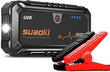 Suaoki U28 Booster 2000A Picco Avviatore di Emergenza per Veicolo o Barca 12V per Motore fino a Benzina 10L Diesel 8L, con Cavo USB come Caricabatteria, Torcia a LED Incorporata e Pinza Intelligente