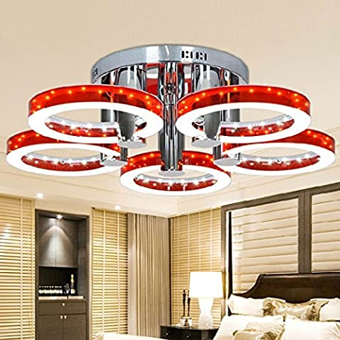 Modern LED Acrylic Round Chandeliers Ceiling Light Living Room Flush Mount Frosted Fixtures With 5 Lights Chrome Finish 18W US Stock (red)
