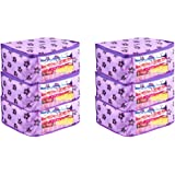PrettyKrafts Saree Cover Set of 6 Large Flower Prints/Wardrobe Organiser/Clothes Bag_Purple