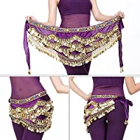 Dioche Danza del Vientre Cinturón, Cinturón de Danza Oriental Belly Dance Cinturón de Lentejuelas con 328 Piezas de Oro(Púrpura)