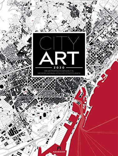 City Art 2020 - Die Metropolen der Welt in modern-minimalistischen Stadtplänen / Schwarzplänen, Wandkalender im Hochformat (50x66 cm)