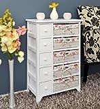 Commode à 6 tiroirs et 5 corbeilles avec housses à motifs fleurs Blanc