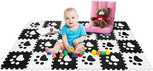 COSTWAY Puzzlematte 24 Stück, Spielmatte für Babys und Kinder, Kinderteppich 30x30cm, Spielteppich schadstofffrei, Steckmatte aus Eva