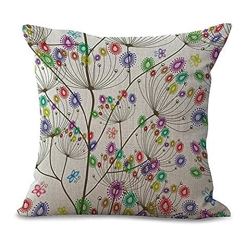 Battar–Simple Flower Plant Colour Print Pillowcase Decorative Cushion Cover Cotton