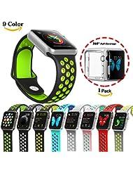 Chok Idea Bracelet sport de rechange en silicone souple avec coque transparente en TPU pour montre Apple Watch 1/2 38/42mm 9 couleurs, noir/vert