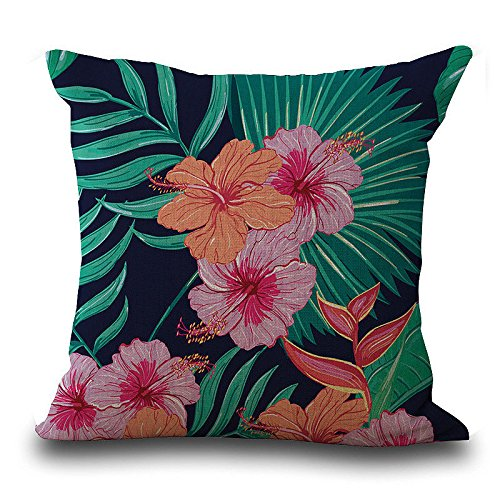 Xuthuly Vintage Flower Tropical Leaves Print Taille Dekokissen Fall Kissenbezug Home Decor -